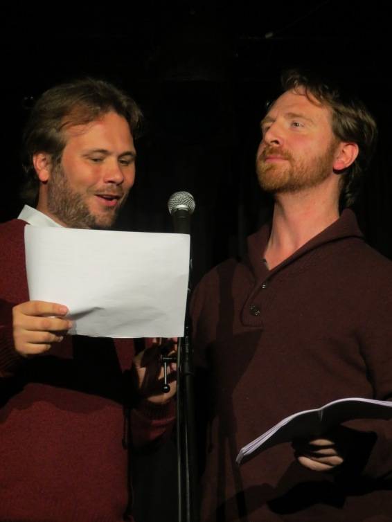 Finnemore and Kane doing the 'train conductor' sketch.